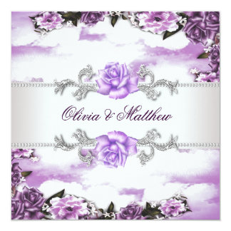 Purple Roses Lavender Purple White Cloud Wedding 13 Cm X 13 Cm Square Invitation Card