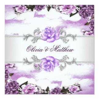 Purple Roses Lavender Purple White Cloud Wedding Card