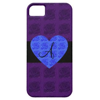 Purple roses monogram blue roses iPhone 5 cases