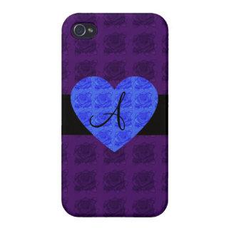 Purple roses monogram blue roses iPhone 4 cases