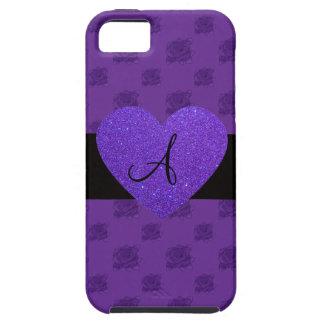 Purple roses monogram heart iPhone 5 case