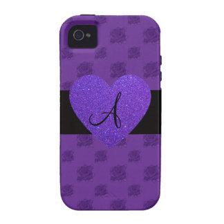 Purple roses monogram heart Case-Mate iPhone 4 covers