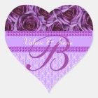 Purple Roses Monogram Letter B Wedding Sticker