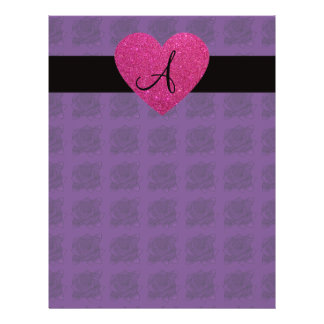 Purple roses monogram pink heart 21.5 cm x 28 cm flyer