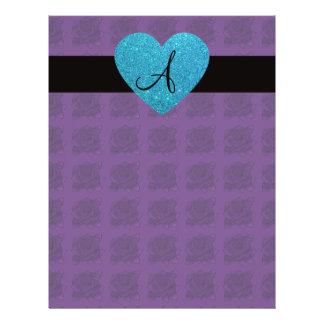 Purple roses monogram turquoise heart 21.5 cm x 28 cm flyer