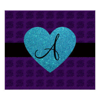 Purple roses monogram turquoise heart posters