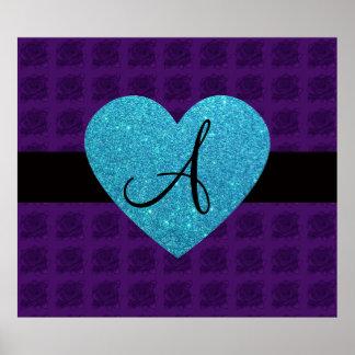 Purple roses monogram turquoise heart posters