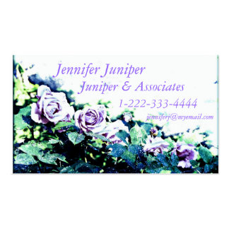 purple roses on white business card