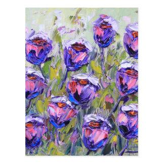 Purple Roses Painting, Spring Flowers, Pink Postcard