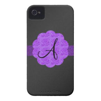 Purple roses purple glitter monogram black blackberry case
