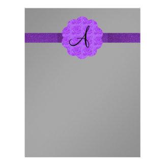 Purple roses purple glitter monogram black flyers