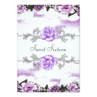 Purple Roses Purple Pretty Sweet Sixteen Party 13 Cm X 18 Cm Invitation Card