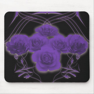 Purple Roses & Tribal Patterns - Mousepad
