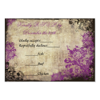 Purple Roses Vintage Wedding RSVP Invitation