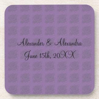 Purple roses wedding favors drink coaster