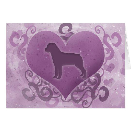 Purple Rottweiler Valentine's Day Card