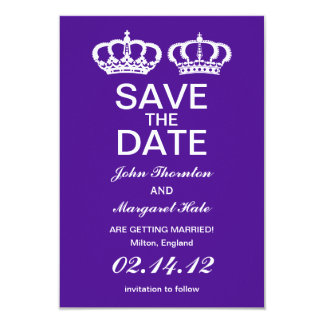 Purple Royal Couple Save the Date 9 Cm X 13 Cm Invitation Card