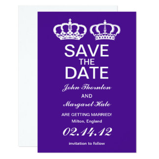 Purple Royal Couple Save the Date Card