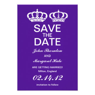 Purple Royal Couple Save the Date Personalized Invitations