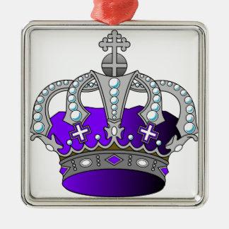 Purple Royal Crown Silver-Colored Square Decoration