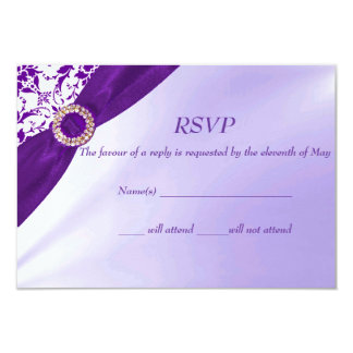 Purple RSVP cards Custom Invitation