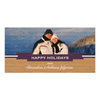 Purple Rustic Banner Holiday Photo Card