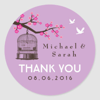 Purple Rustic Bird Cage Flower Wedding Sticker