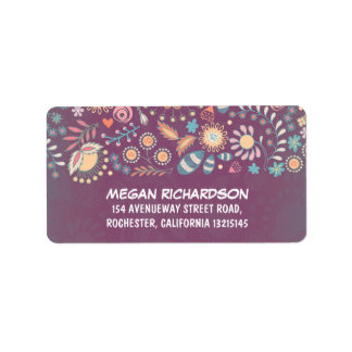 Purple Rustic Floral Whimsical Address Labels