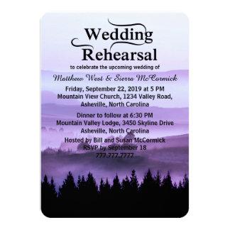Purple Rustic Mountain Wedding Rehearsal Dinner 11 Cm X 16 Cm Invitation Card