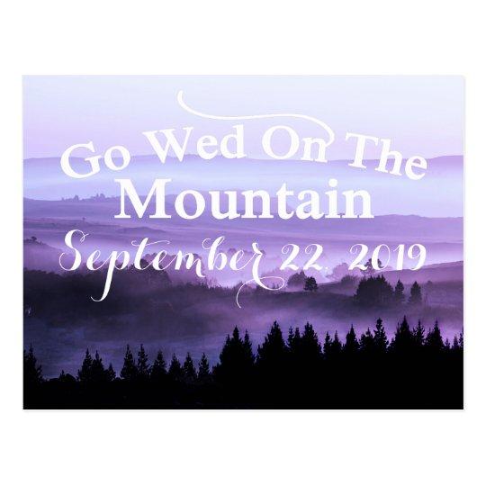 Purple Rustic Mountain Wedding Save The Date Postcard