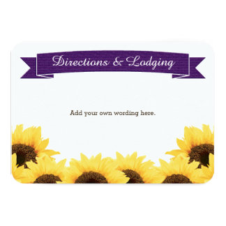 PURPLE RUSTIC SUNFLOWER ENCLOSURE INSERT CARD