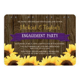 PURPLE RUSTIC SUNFLOWER ENGAGEMENT PARTY CARD