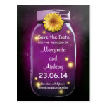 Purple Rustic Whimsical Mason Jar Save the Date Postcard
