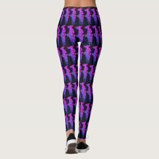 Purple Salmon Pattern Leggings