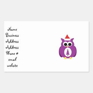 Purple santa owl rectangular sticker