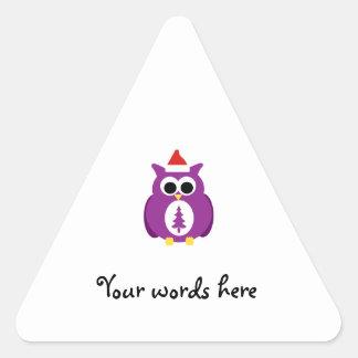 Purple santa owl triangle stickers