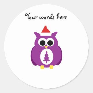 Purple santa owl round stickers