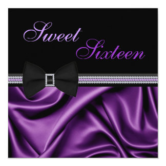 Purple Satin and Gems Sweet Sixteen Invite