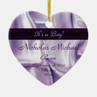 Purple Satin Birth Announcement Keepsake Christmas Ornament