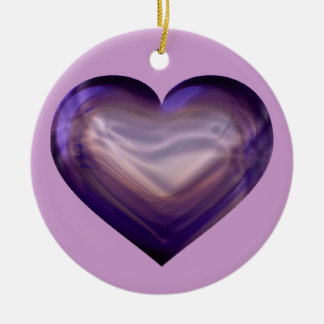 Purple satin heart christmas ornament