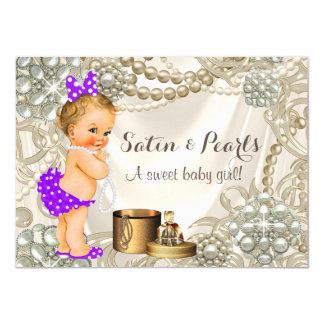 Purple Satin Pearl Girly Baby Girl Shower 11 Cm X 16 Cm Invitation Card
