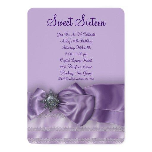 Purple Satin Sweet Sixteen Birthday Party 13 Cm X 18 Cm Invitation Card