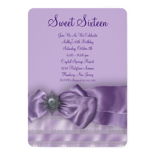 Purple Satin Sweet Sixteen Birthday Party Card