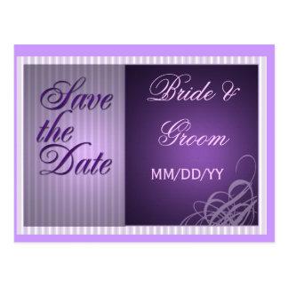 Purple save the date card postcards