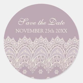 Purple Save the Date Envelope Seal Round Sticker