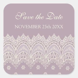 Purple Save the Date Envelope Seal Square Sticker