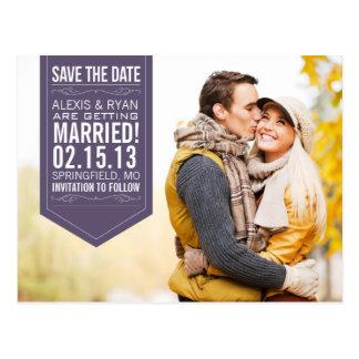 Purple Save The Date Postcard