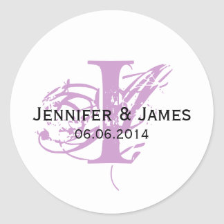Purple Save the Date Wedding Favour Stickers