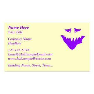 Purple Scary Face. Monster. Pack Of Standard Business Cards