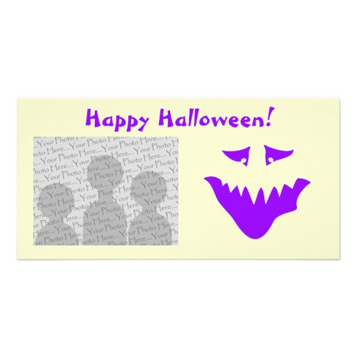 Purple Scary Face. Monster. Customized Photo Card